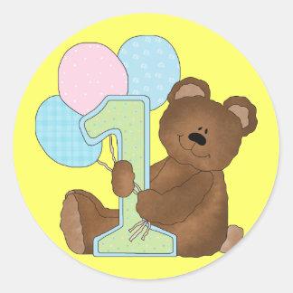 1r Oso de peluche del cumpleaños (3) Pegatina Redonda