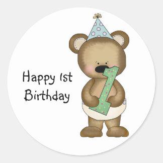 1r oso lindo del cumpleaños - muchacho pegatina redonda