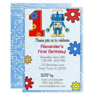 1r Personalizado del robot del cumpleaños Invitación 12,7 X 17,8 Cm