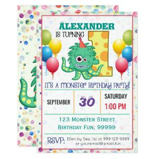 1r Personalizado lindo del monstruo del cumpleaños Invitación 12,7 X 17,8 Cm