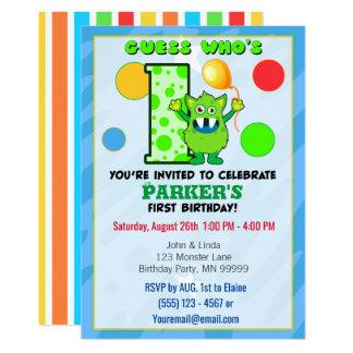 1r Personalizado verde del monstruo del cumpleaños Invitación 12,7 X 17,8 Cm