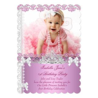 1r Princesa Pink Photo First de la chica marchosa Invitación 12,7 X 17,8 Cm