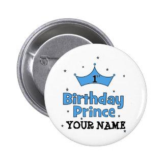 1r Príncipe del cumpleaños Chapa Redonda De 5 Cm