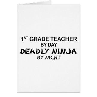 1r Profesor Ninja mortal del grado por noche Tarjeta De Felicitación