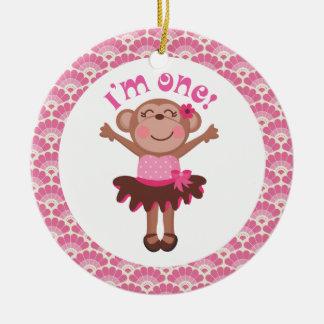 1r Regalo del ornamento del mono del chica del