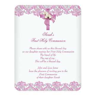 1r Rosa blanco de los primeros de la comunión Invitación 10,8 X 13,9 Cm