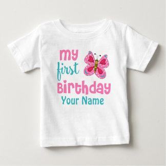 1r Rosa de la mariposa del chica del cumpleaños Camiseta De Bebé