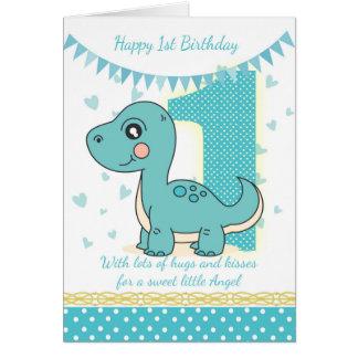 1r Tarjeta azul del dinosaurio del cumpleaños, 1ra