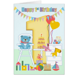 1r Tarjeta de felicitación del cumpleaños, primer