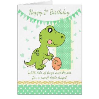 1r Tarjeta del dinosaurio verde del cumpleaños,