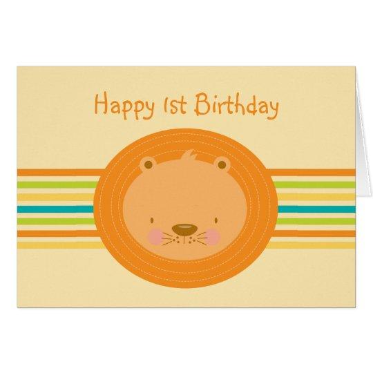 1r Tarjeta del león del bebé del cumpleaños