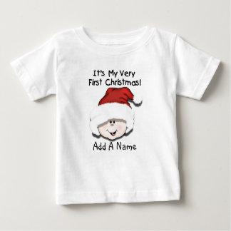 1ra camiseta personalizada del navidad del bebé