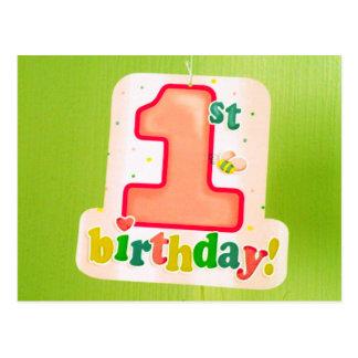 1ra etiqueta del cumpleaños del naranja en puerta postal