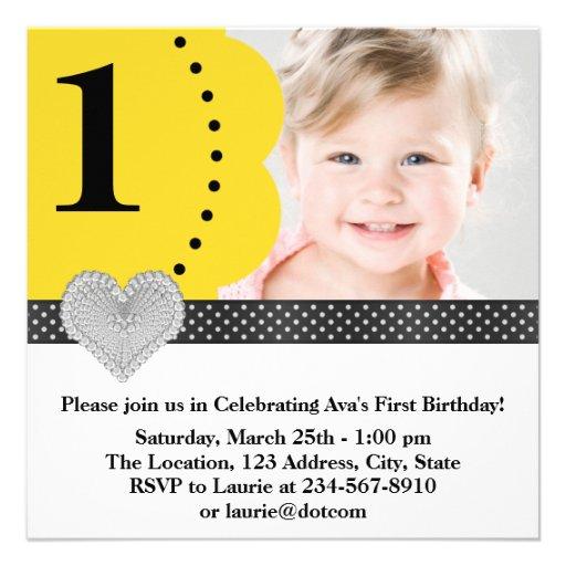 1ra fiesta de cumpleaños de la foto negra amarilla invitacion personalizada