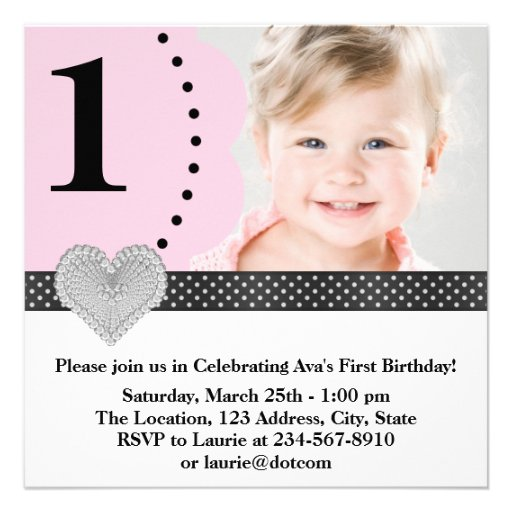 1ra fiesta de cumpleaños de la foto negra rosada d invitaciones personales