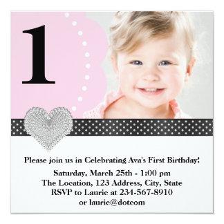1ra fiesta de cumpleaños de la foto negra rosada invitación 13,3 cm x 13,3cm