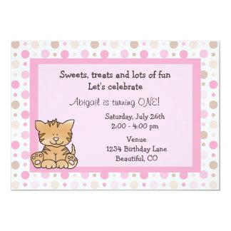 1ra invitación del cumpleaños del gato lindo del