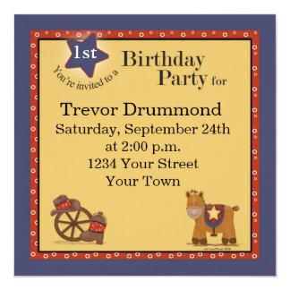 1ra invitación del cumpleaños del vaquero invitación 13,3 cm x 13,3cm