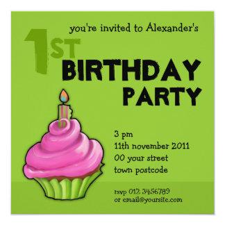1ra invitación del cumpleaños del verde rosado y