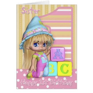 1ra tarjeta de cumpleaños de la hermana con la niñ