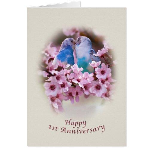 1ra tarjeta del aniversario de los Parakeets cariñ
