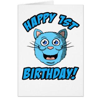 1ra tarjeta feliz del gato azul del cumpleaños