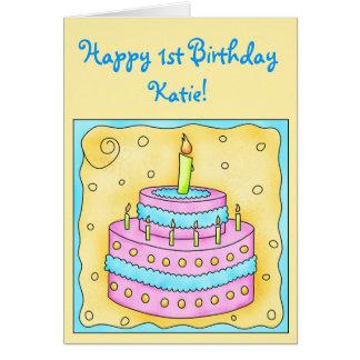 1ra torta feliz del rosa de la tarjeta de