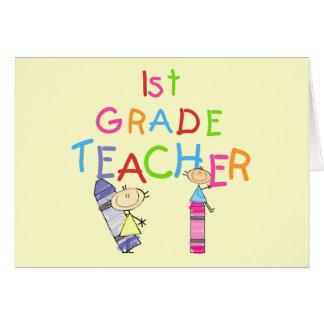 1ras camisetas y regalos del profesor del grado de tarjeta de felicitación