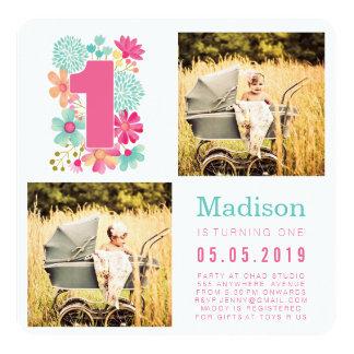 1ras tarjetas de la foto del cumpleaños de los invitación 13,3 cm x 13,3cm