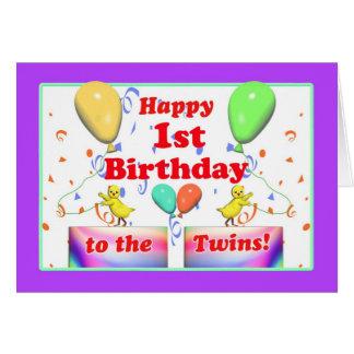 1ros pollos felices del cumpleaños para los tarjeta de felicitación