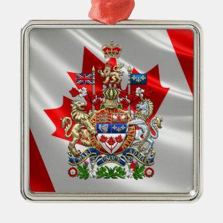 [200] Escudo de armas de Canadá [3D] Adorno Navideño Cuadrado De Metal