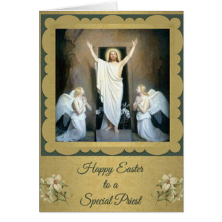 200 Pascua feliz a una tarjeta del sacerdote