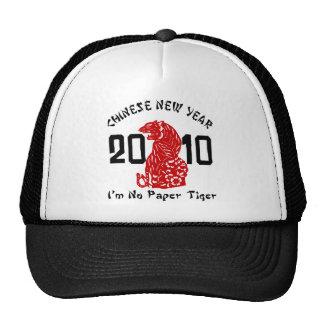 2010 años del corte del papel del tigre gorros bordados