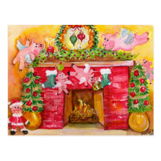 2010 navidad que adorna la postal de los cerdos