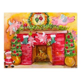 2010 navidad que adorna la postal de los cerdos de