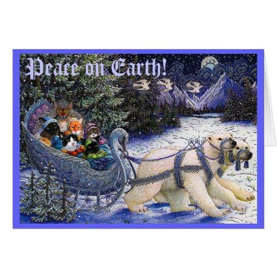 ¡2010XMASCatCard, paz en la tierra! Tarjeta De Felicitación