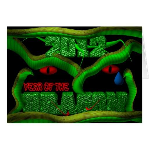 2012 años del dragón verde tarjetón