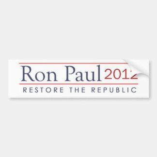 2012 ronpaul_restore_the_republic pegatina para coche