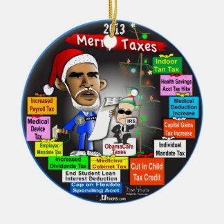 2013 felices impuestos adorno redondo de cerámica