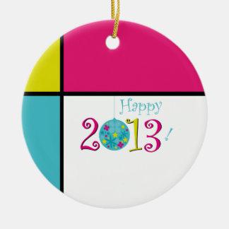 2013 feliz adorno redondo de cerámica