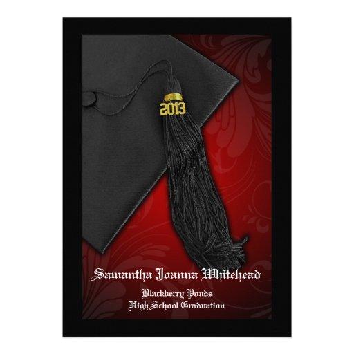 2013 graduación negra y roja del encanto 5x7 de la comunicado personalizado
