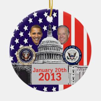 2013 inaugural adorno navideño redondo de cerámica