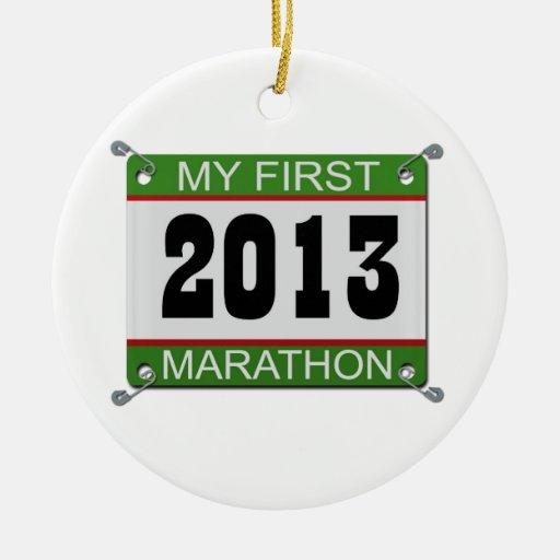 2013 mi primer ornamento del babero del maratón adorno de reyes