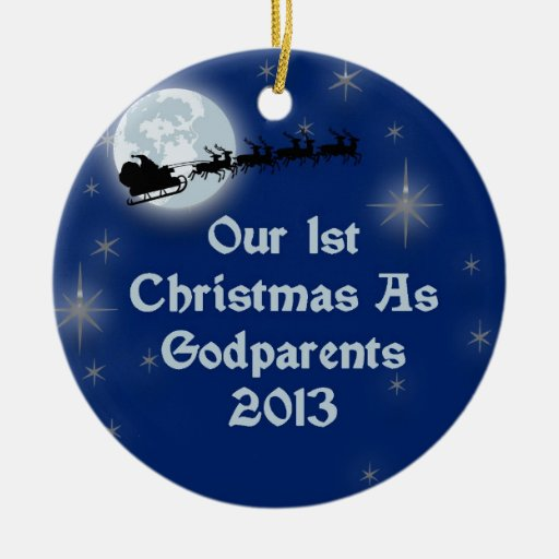 2013 nuestro 1r navidad como Godparents Ornamento Para Reyes Magos