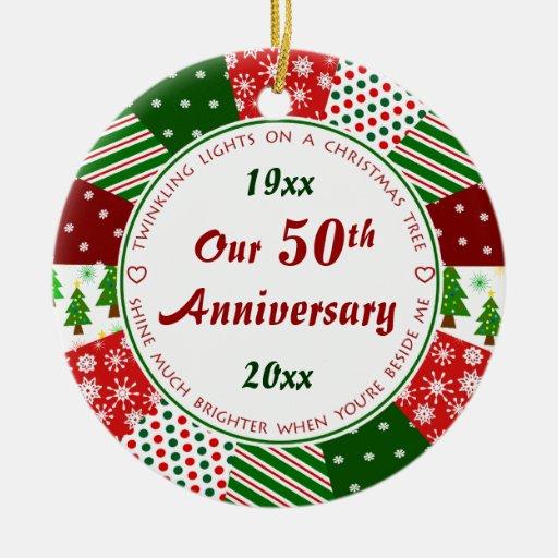 2014 50.os o cualquier regalo del aniversario del ornamento de navidad