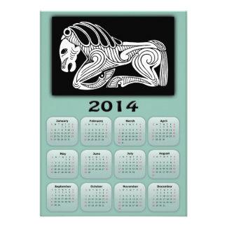 2014 años de calendario del caballo con el caballo invitación