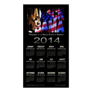 2014 Barack Obama Cutout Calendar | black Posters