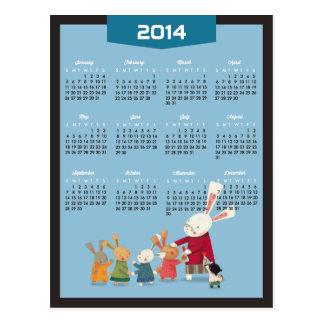 2014 calendario - familia del conejo de conejito postal