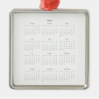 2014 regalos del calendario adorno navideño cuadrado de metal
