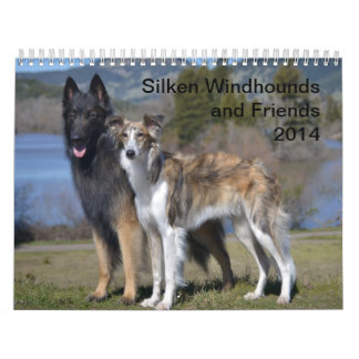 2014 Windhounds de seda y amigos 1-2 Calendario De Pared